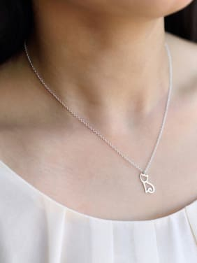 S925 Silver Lovely Kitten Short Clavicle Necklace