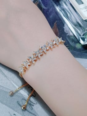 Copper With Cubic Zirconia  Fashion Flower Adjustable Bracelets