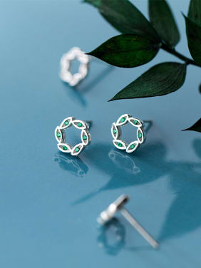925 Sterling Silver With Platinum Plated Simplistic Flower Stud Earrings