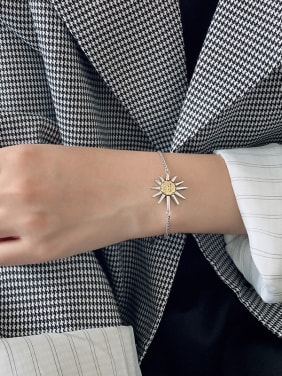 925 Sterling Silver With Platinum Plated Simplistic Sun Smile Bracelets