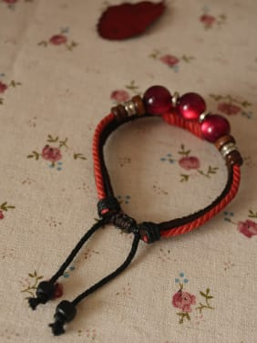 Cownhide Leather Red Beads Bracelet