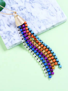 Colorful Glass Beads Long Tassel Sweater Necklace