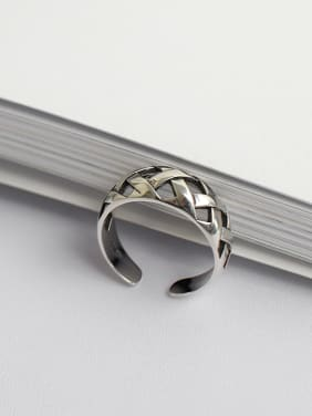 925 Sterling Silver With Antique Silver Plated Simplistic Irregular Free Size Rings