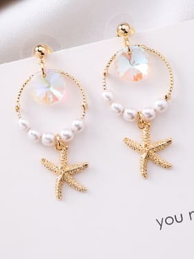 Alloy With Gold Plated Fashion Sea Star  Drop Earrings