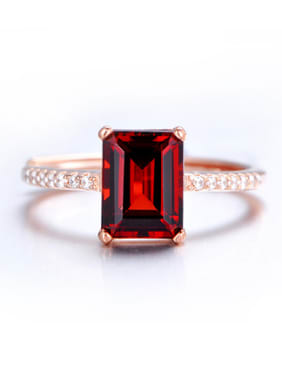 Fashion Rectangular Ruby Gemstone Engagement Ring