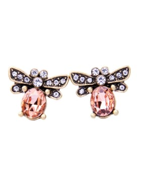 Retro Bee-shape Artificial Pearls Stud Earring