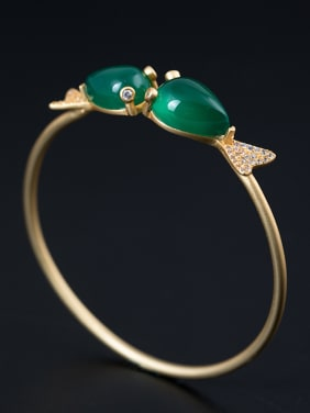Ethnic style Double Fish Green Jades 925 Silver Bangle