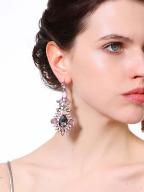 Leave-shape Pink Color Fashion Drop Earrings