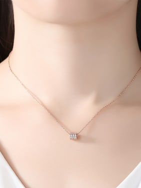 925 Sterling Silver With Cubic Zirconia Simplistic Charm Necklaces