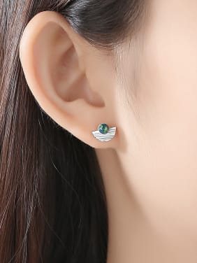925 Sterling  Silver With Opal  Simplistic Semicircle Stud Earrings