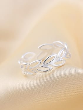 S925 Silver Leaves Exquisite Opening Ring