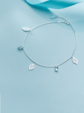 925 Sterling Silver With Platinum Plated Fashion Leaf Anklets