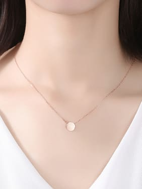 925 Sterling Silver With Glossy Simplistic Round Necklaces