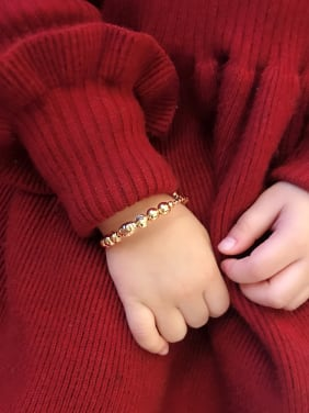 Copper With 18k Gold Plated Delicate small bell Bangles