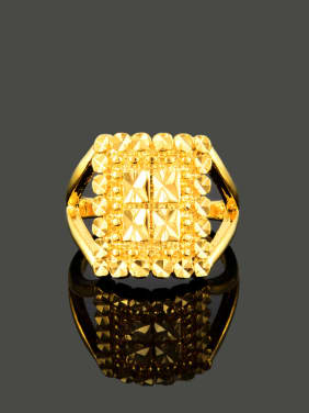 Exaggerated 24K Gold Plated Square Shaped Copper Ring