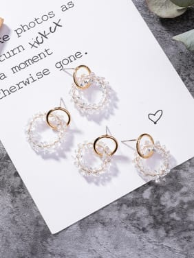 Alloy With Gold Plated Fashion Round Beads Stud Earrings