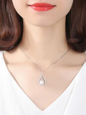 Sterling silver natural freshwater pearl drop shape necklace