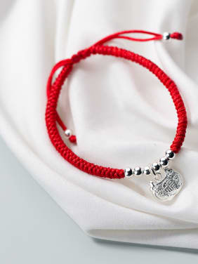 925 Sterling Silver With Silver Plated Cute Lock Woven & Braided Bracelets