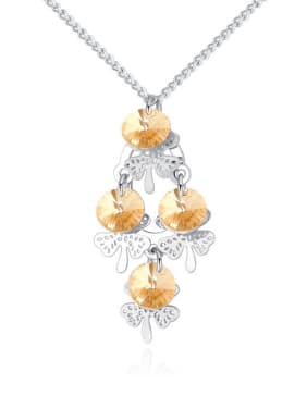 Fashion Cubic Swarovski Crystals Flowers Pendant Alloy Necklace