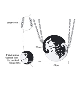 Stainless Steel With  Cute Black And White Puppy Couple  Necklaces