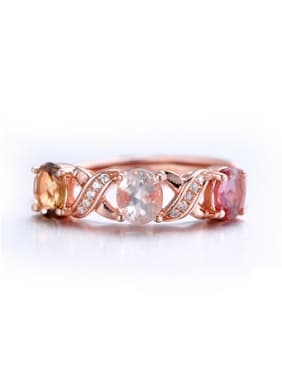 Rose Gold Plated Colorful Gemstones Ring