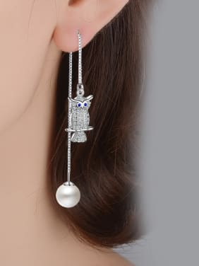 Personalized Cubic Zirconias Owl Imitation Pearl Line Earrings