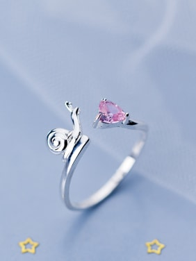 925 Sterling Silver With Silver Plated Simplistic Snail Free Size Rings