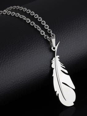 Simple Feather Titanium Smooth Necklace