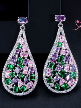 Alloy With Platinum Plated Fashion Water Drop Cluster Earrings