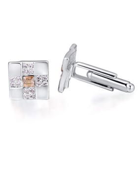 Fashion Square Swarovski Crystals Alloy Cufflinks