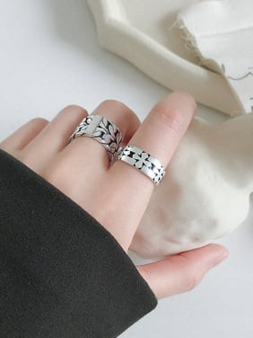 925 Sterling Silver With Antique Silver Plated Vintage Cross Free Size  Rings