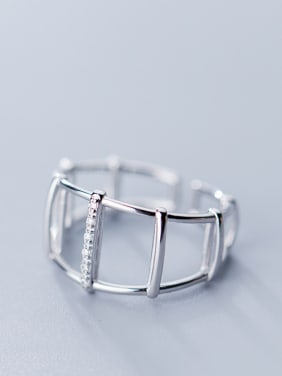 925 Sterling Silver With Silver Plated Personality Geometric Free Size Rings