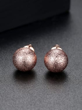 Copper With 18k Rose Gold Plated Simplistic Ball Stud Earrings