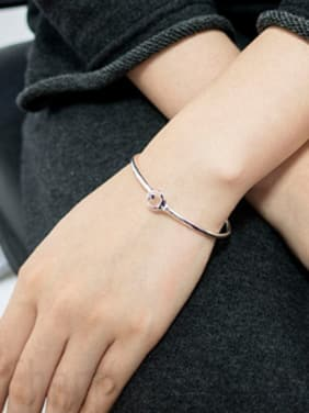 Simple Little Moon Star 999 Silver Opening Bangle