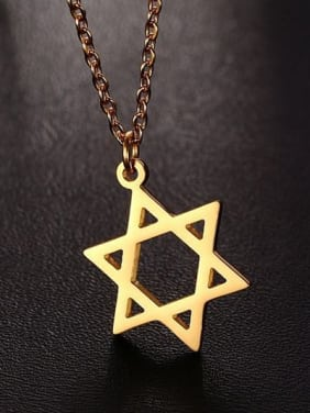 Elegant Gold Plated Star Shaped Titanium Necklace