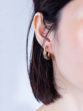 Stainless Steel With Rose Gold Plated Simplistic Irregular Stud Earrings