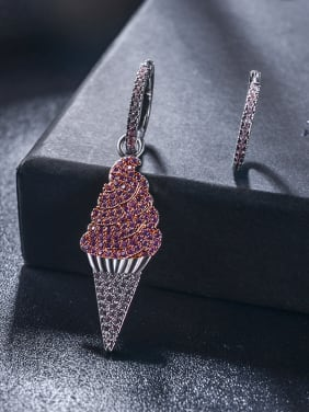 New cones ice cream asymmetric Micro-inlay pink zircon earrings