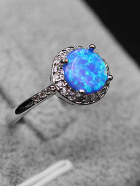 Platinum Plated Opal Stones Ring
