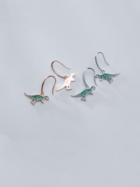 925 Sterling Silver With Platinum Plated Cute Dinosaur Hook Earrings