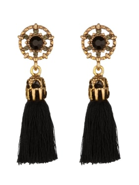 Vintage Round Shaped Rhinestones Tassels Stud Earrings