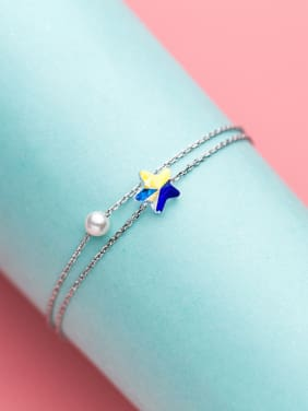 Adjustable Star Shaped Artificial Pearl S925 Silver Bracelet