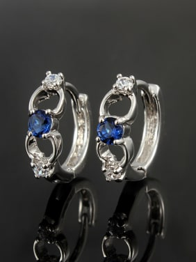 Exquisite Blue Geometric Shaped 4A Zircon Platinum Plated Clip Earrings