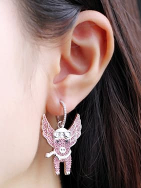 Copper With Platinum Plated Personality Asymmetry Cattle Cluster Earrings