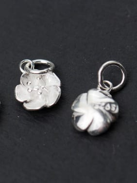 925 Sterling Silver With Silver Plated Cute Flower Charms