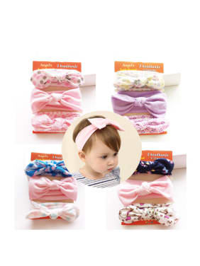 Cotton Bow Elastic Headband Three Pieces Set