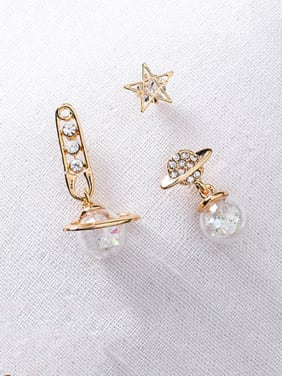Alloy With Cubic Zirconia Trendy Planet Star Three-Piece Earrings