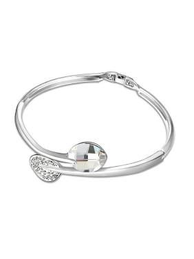 Simple Swarovski Crystals Little Leaves Alloy Bangle