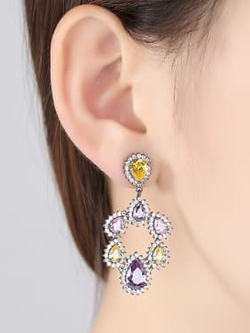 Copper inlaid AAA zircon fashion color-zirconium Earrings