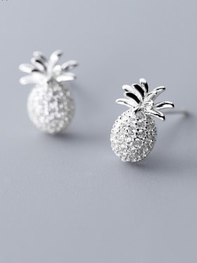 925 Sterling Silver With Platinum Plated Cute Friut Pineapple Stud Earrings