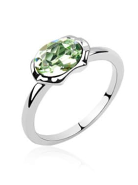 Simple Oval Swarovski Crystal Alloy Ring